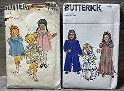 50andrsquos Butterick 3502 And 4675 Girl Sewing Patterns Dress Bloomers Robe Nightgown