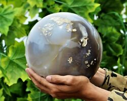 20cm Superb Huge Gray Agate Crystal Chakra Healing Energy Stone Minerals Sphere