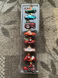 """Set Of 8 Dept 56 Glass Christmas Ornaments Classic Cars Tiny Trimmings 2.5"""""""