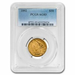 1892 10 Liberty Gold Eagle Ag-03 Pcgs Low-ball Registry - Sku235001