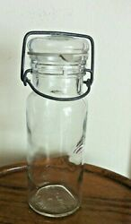 Vintage Wheaton Clear Glass Food Canister Jar With Glass Top And Metal Clamp