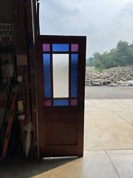 An 648 Antique Stained Glass Queen And Door 30 X 78 X 1 5/16
