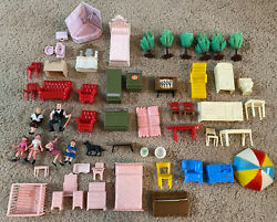 Vintage 60s 70s Doll House Furniture And People Lot Vintage Blue Box And More