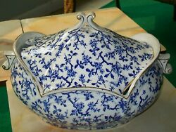 Big Early American Antique Historical Flow Blue Tureen Museum Quality Ironstone