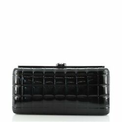 Chocolate Bar Frame Clutch Quilted Patent