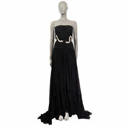 63464 Auth Balmain Black Silk Crystal Snake Embellished Maxi Gown Dress 38 S