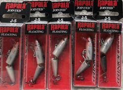 Lot Of 5 Rapala Jointed J-5 2andrdquo 1/8oz Floating Dives 3-5andrsquo Silver Lt4