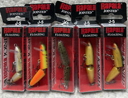 Lot Of 5 Rapala Jointed J-5 2andrdquo 1/8oz Floating Dives 3-5andrsquo Good Colors Va6