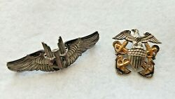 Vintage Sterling Us Military Pins Gunner Bomber Pilot Wings And Navy Eagle Anchors