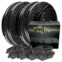 [front+rear Kit] Black Hart Drilled And Slotted Brake Rotors +ceramic Pads C1133