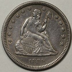 1859-o Seated Liberty Quarter Au - Tough To Find In This Grade