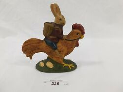 225/123 1991 Walnut Ridge Primative Painted Chalkware Bunny Riding A Rooster