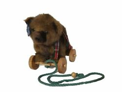 Applause Vintage Pull Toy Rope Teddy Bear 1986 Plaid Scarf Wallace Berrie And Co