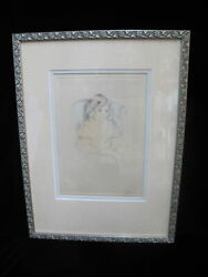 Antique Mary Cassat Hand Colored Drypoint Of Sara Smiling