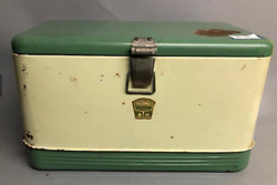 Antique Green Thermos Cooler Rare Small Size 11.5h X 19w X 10.5d