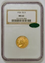 1926 2.50 Indian Head U.s. Quarter Eagle Gold Coin, Graded Ms62 By Ngc With Cac