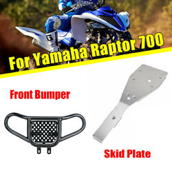 Front Bumper Guard + Full Chassis Skid Plate For Yamaha Raptor 700 2006-2020