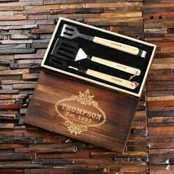 Personalized Barbecue Tools 3pc Bbq Grill Set W/ Wooden Box Holiday Gift Set