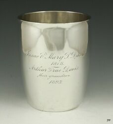 Antique 1818 American New York Coin Silver Beaker Cup