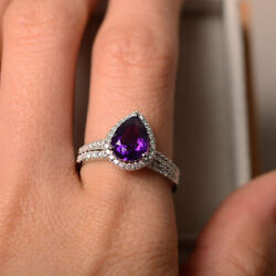 2.35 Ct Pear Natural Amethyst Diamond Engagement Band Sets 14k White Gold Size 6