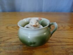 Vintage Porcelain Green Tea Cup With Pig Attached