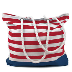 RED STRIPES Beach Bag Cotton Made in India 15.7x17.7 inches Tote $9.95