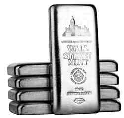 Investmt 5 X 10 Troy Oz=50ozs .999 Fn Silver Wall Street Mint Bar From Sdmt