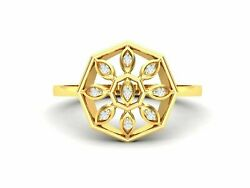 22k Ring Solid Gold Ladies Jewelry Modern Geometric Floral Design Gr29