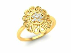 22k Ring Solid Yellow Gold Ladies Jewelry Modern Floral Design Cgr33