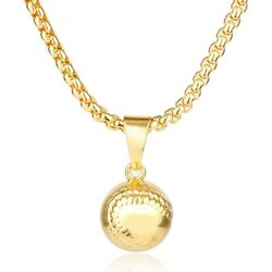 Solid Gold Pendant Baseball Charm With High Polished Finished Sp46