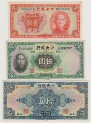 Lots Of 3 Central Bank Of China 1, 5, 10 Yuan Banknotes, Issued In 1928, 1936 Un
