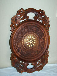 Vintage Hand Carved Wood Ornate Floral Serving Tray With Metal Inserts