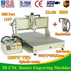 Usb 3axis Cnc 6090z Router Engraver Drill Milling Advertising Machine+ Handwheel