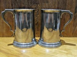 2 X Antique James Dixon And Sons Glass Bottom Silver Plate Tankards, Tyne A.r.c.