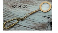 Lot Of 100 Brass Antique Maritime Magnifier Glass Key Chain And Antique Finish
