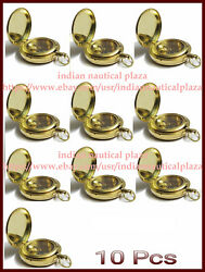 Lot Of 10 Pc Nautical Maritime Solid Brass Push Button Pocket And Locket Compass