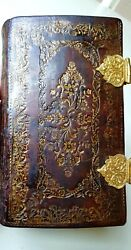 Old And Rare 18th C. Bible In Beautiful Goldstamped Binding With Gold-plate Locks