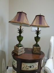 Pair Of Tyndale Frederick Cooper Bronze Verdigris Pineapple Urn Lamps And Shades