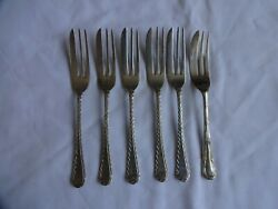 Art Deco Silver Plated Cake Forks X 6 Length 12.5 Cm Mixed Makers