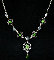 Absolutely Breathtaking Antique Sterling Blue Moonstone And Paste Necklace Wow