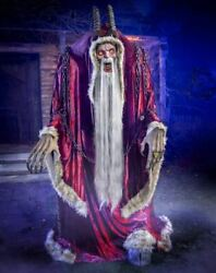 6.5and039 Tall Moving Howling Light-up Eyes Krampus Animatronic Halloween Decoration