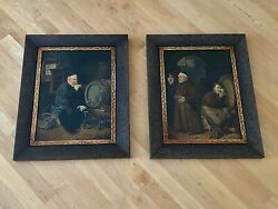 Par Of Antique European Oil Painting Of Monks Signed And Dated.