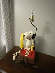 Vintage Snoopy And Woodstock Phone Lamp Combo, 1966, Clean, Collectible