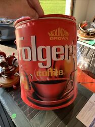Vintage 70s Folgers Coffee Red Insulated Soft Cooler - Tin Shape Cylinder Offer