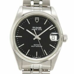 Auth Tudor Watch Date Boys 72000 Automatic Case 32mm Black Ss 1997 F/s
