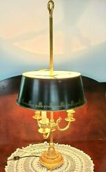 Vtg Bouillotte Dolphin Table Lamp Metal Tole Shade 3 Arm Candle Light Gold Gilt