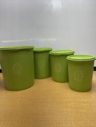 Vintage Tupperware Canister Set Of 4 Green Nesting Canisters W/ Lids