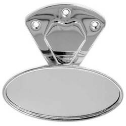 Rear View Mirror - Oval Head - Stainless Steel Bracket - Mounting Hardware