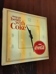 Vintage Things Go Better With Coke Clock Sign Coca Cola Lighted 16x16 Repair