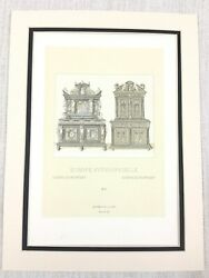 1888 Antique Print 16th Century Gothic Carved Wooden Cabinet Chest Jacobean